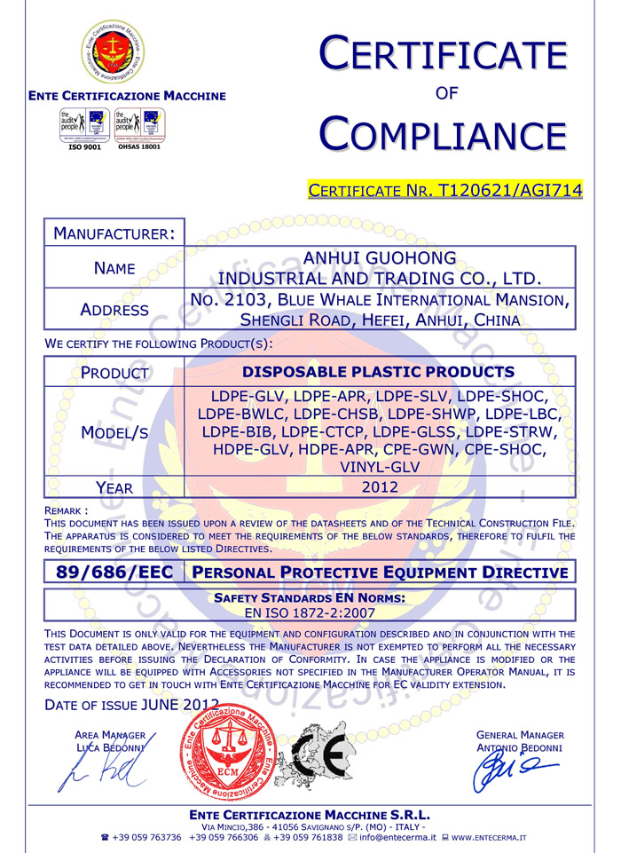 CE  Certificates for Non Woven Products